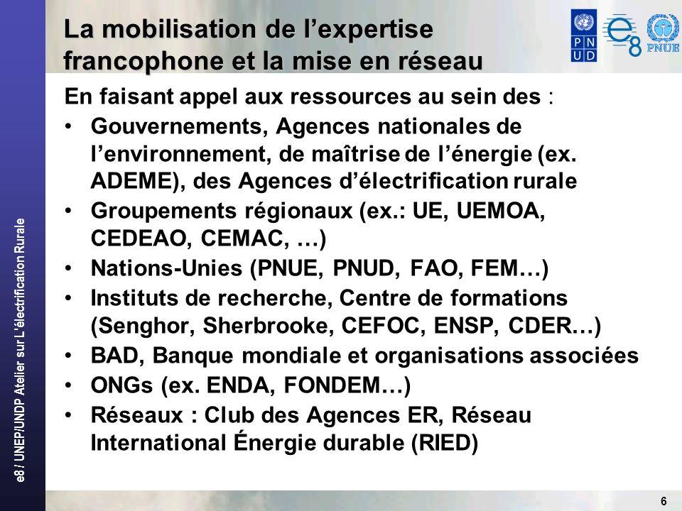 e8 / UNEP/UNDP Atelier sur L électrification Rurale 6 En faisant appel aux ressources au sein des : Gouvernements, Agences nationales de lenvironnement, de maîtrise de lénergie (ex.