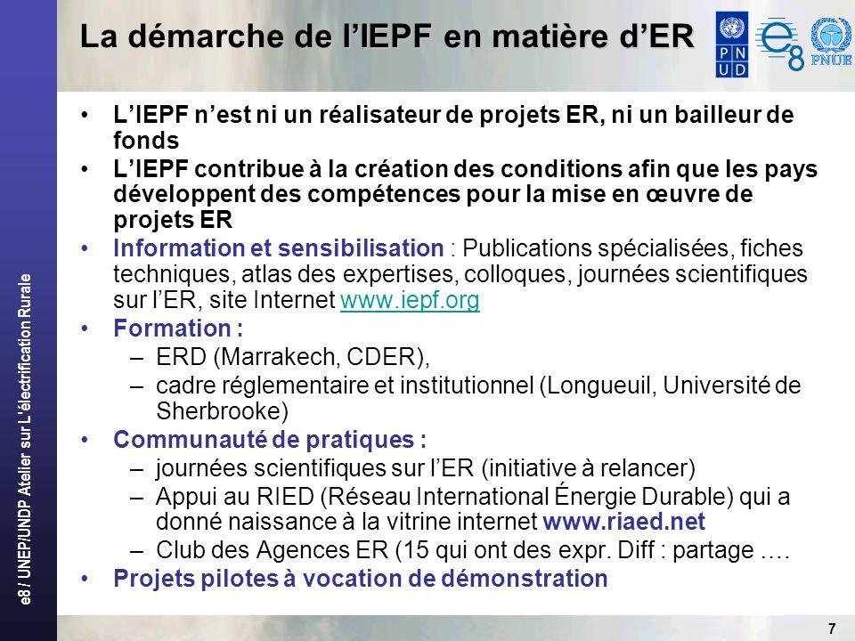 e8 / UNEP/UNDP Atelier sur L électrification Rurale 7 LIEPF nest ni un réalisateur de projets ER, ni un bailleur de fonds LIEPF contribue à la création des conditions afin que les pays développent des compétences pour la mise en œuvre de projets ER Information et sensibilisation : Publications spécialisées, fiches techniques, atlas des expertises, colloques, journées scientifiques sur lER, site Internet www.iepf.orgwww.iepf.org Formation : –ERD (Marrakech, CDER), –cadre réglementaire et institutionnel (Longueuil, Université de Sherbrooke) Communauté de pratiques : –journées scientifiques sur lER (initiative à relancer) –Appui au RIED (Réseau International Énergie Durable) qui a donné naissance à la vitrine internet www.riaed.net –Club des Agences ER (15 qui ont des expr.
