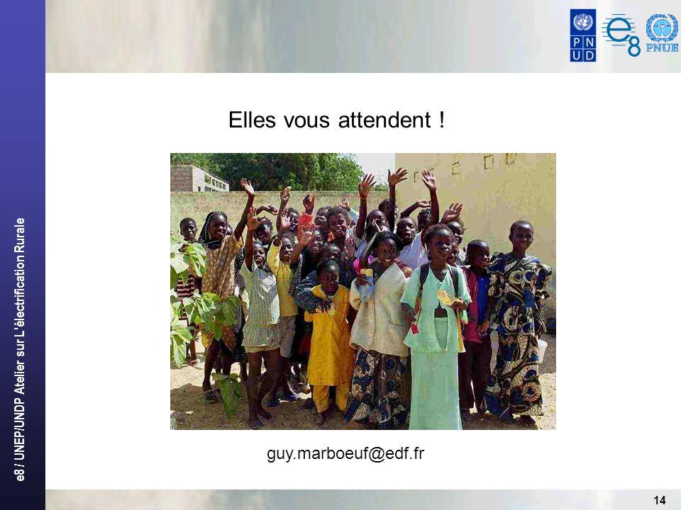 e8 / UNEP/UNDP Atelier sur L électrification Rurale 14 Elles vous attendent ! guy.marboeuf@edf.fr