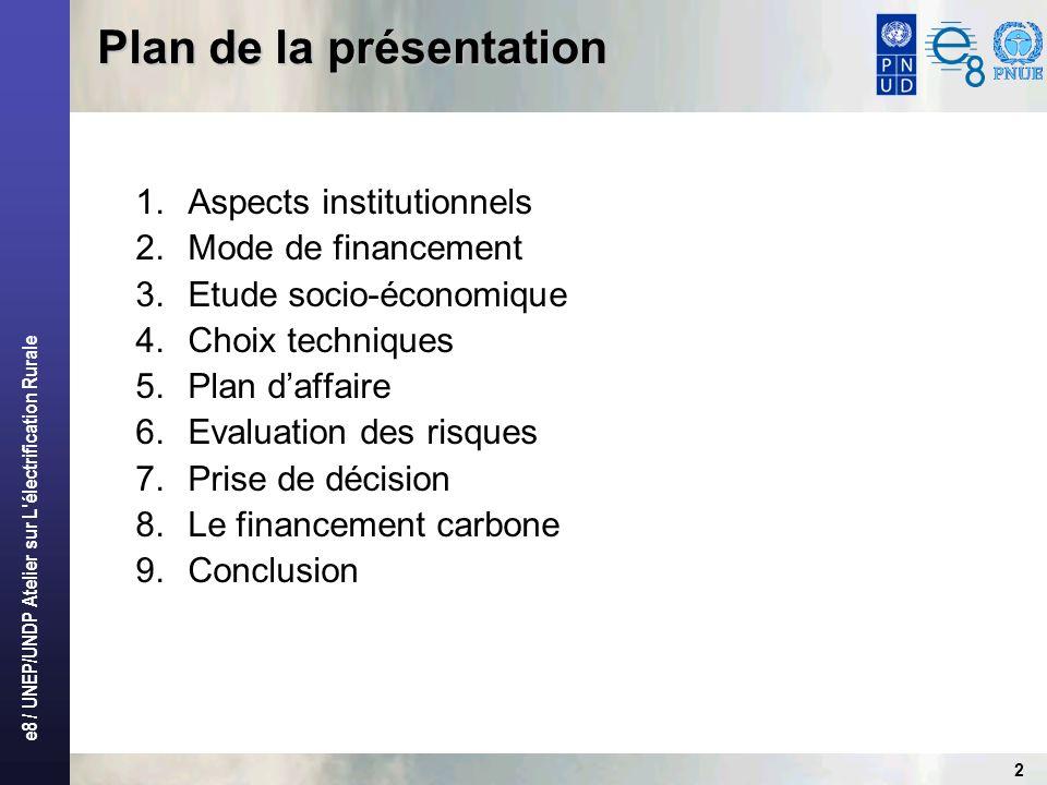 e8 / UNEP/UNDP Atelier sur L électrification Rurale 2 1.Aspects institutionnels 2.Mode de financement 3.Etude socio-économique 4.Choix techniques 5.Plan daffaire 6.Evaluation des risques 7.Prise de décision 8.Le financement carbone 9.Conclusion Plan de la présentation