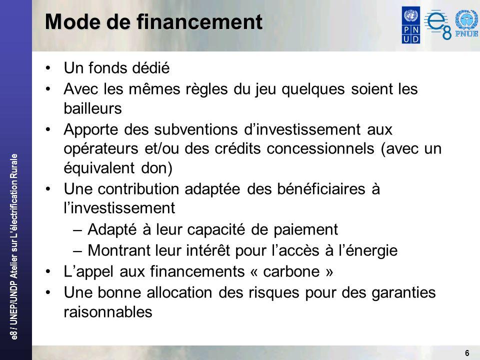 e8 / UNEP/UNDP Atelier sur L électrification Rurale 6 Mode de financement Un fonds dédié Avec les mêmes règles du jeu quelques soient les bailleurs Apporte des subventions dinvestissement aux opérateurs et/ou des crédits concessionnels (avec un équivalent don) Une contribution adaptée des bénéficiaires à linvestissement –Adapté à leur capacité de paiement –Montrant leur intérêt pour laccès à lénergie Lappel aux financements « carbone » Une bonne allocation des risques pour des garanties raisonnables
