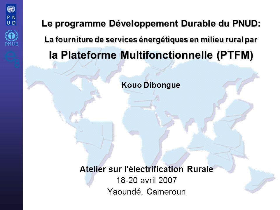 Atelier sur l électrification Rurale 18-20 avril 2007 Yaoundé, Cameroun Le programme Développement Durable du PNUD: La fourniture de services énergétiques en milieu rural par la Plateforme Multifonctionnelle (PTFM) Le programme Développement Durable du PNUD: La fourniture de services énergétiques en milieu rural par la Plateforme Multifonctionnelle (PTFM) Kouo Dibongue