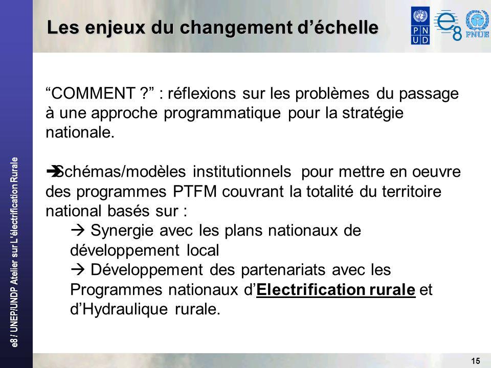 e8 / UNEP/UNDP Atelier sur L électrification Rurale 15 Les enjeux du changement déchelle COMMENT .