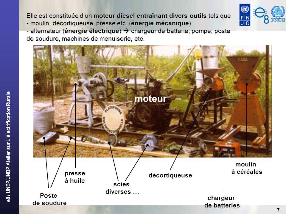 e8 / UNEP/UNDP Atelier sur L électrification Rurale 7 Elle est constituée dun moteur diesel entraînant divers outils tels que - moulin, décortiqueuse, presse etc.