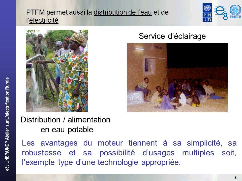 e8 / UNEP/UNDP Atelier sur L électrification Rurale 8 PTFM permet aussi la distribution de leau et de lélectricité Distribution / alimentation en eau potable Service déclairage Les avantages du moteur tiennent à sa simplicité, sa robustesse et sa possibilité dusages multiples soit, lexemple type dune technologie appropriée.
