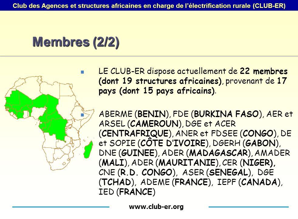 www.club-er.org Club des Agences et structures africaines en charge de lélectrification rurale (CLUB-ER) Membres (2/2) LE CLUB-ER dispose actuellement de 22 membres (dont 19 structures africaines), provenant de 17 pays (dont 15 pays africains).