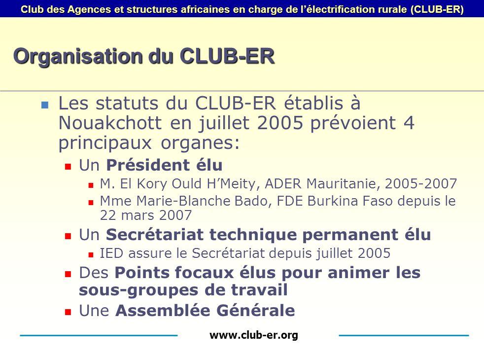 www.club-er.org Club des Agences et structures africaines en charge de lélectrification rurale (CLUB-ER) Organisation du CLUB-ER Les statuts du CLUB-ER établis à Nouakchott en juillet 2005 prévoient 4 principaux organes: Un Président élu M.