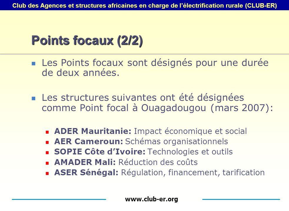 www.club-er.org Club des Agences et structures africaines en charge de lélectrification rurale (CLUB-ER) Points focaux (2/2) Les Points focaux sont désignés pour une durée de deux années.