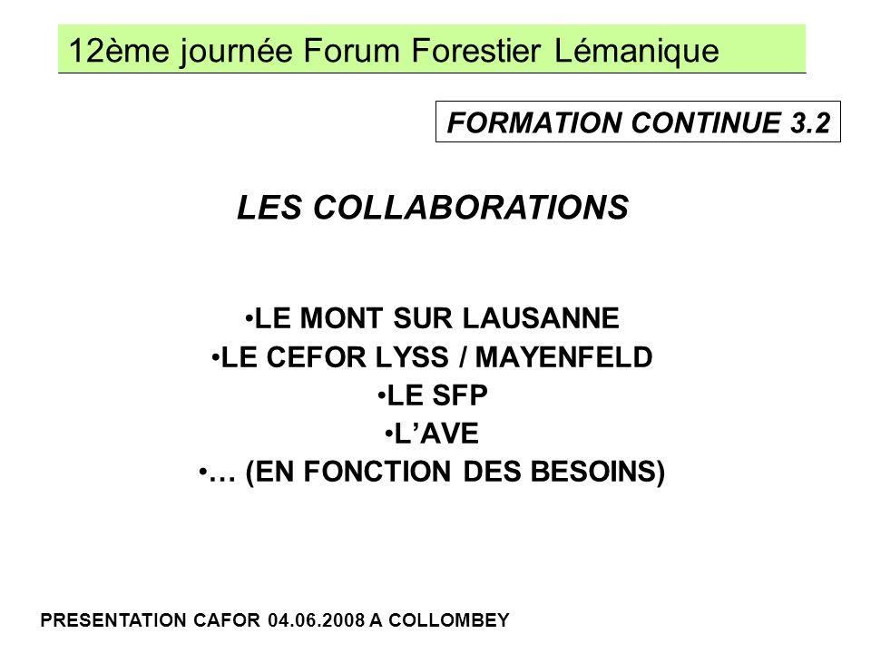 12ème journée Forum Forestier Lémanique PRESENTATION CAFOR 04.06.2008 A COLLOMBEY LE MONT SUR LAUSANNE LE CEFOR LYSS / MAYENFELD LE SFP LAVE … (EN FONCTION DES BESOINS) LES COLLABORATIONS FORMATION CONTINUE 3.2