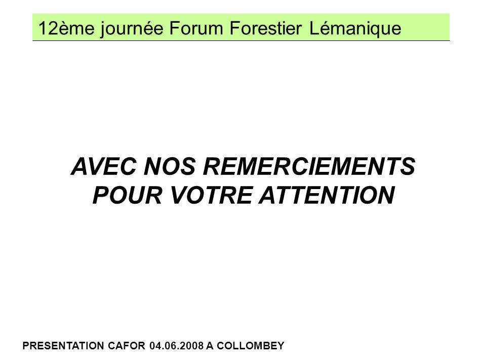 12ème journée Forum Forestier Lémanique PRESENTATION CAFOR 04.06.2008 A COLLOMBEY AVEC NOS REMERCIEMENTS POUR VOTRE ATTENTION