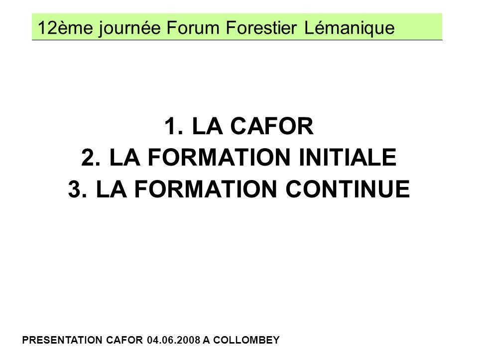 12ème journée Forum Forestier Lémanique PRESENTATION CAFOR 04.06.2008 A COLLOMBEY FONDATION CAFOR 1996 DEPUIS CONVENTION ETAT - CAFOR REVISIONS 1997 – 2001 – 2006 CONVENTION ETAT VALAIS / CAFOR CAFOR 1.1