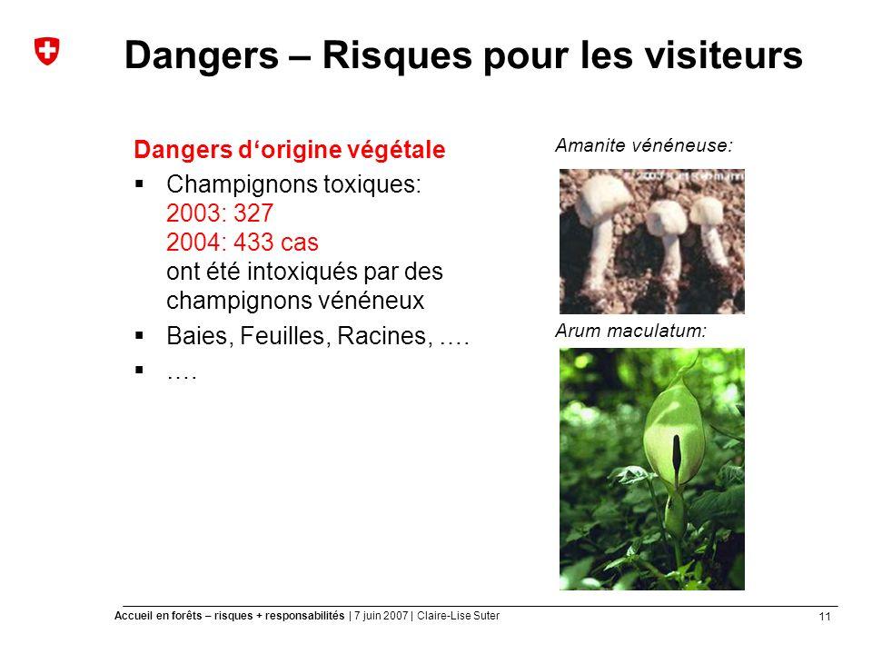 11 Accueil en forêts – risques + responsabilités | 7 juin 2007 | Claire-Lise Suter Dangers – Risques pour les visiteurs Dangers dorigine végétale Champignons toxiques: 2003: 327 2004: 433 cas ont été intoxiqués par des champignons vénéneux Baies, Feuilles, Racines, ….