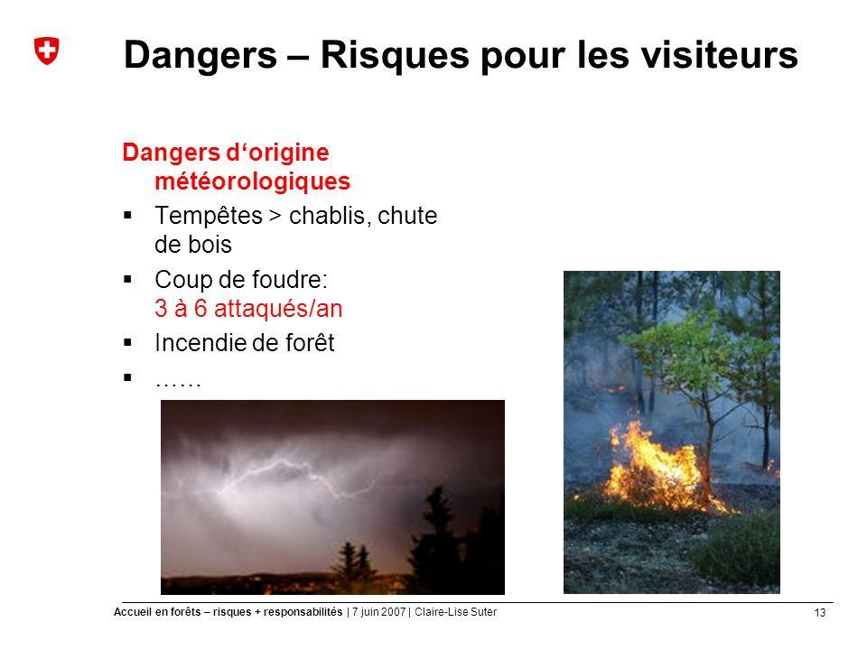 13 Accueil en forêts – risques + responsabilités | 7 juin 2007 | Claire-Lise Suter Dangers – Risques pour les visiteurs Dangers dorigine météorologiques Tempêtes > chablis, chute de bois Coup de foudre: 3 à 6 attaqués/an Incendie de forêt ……