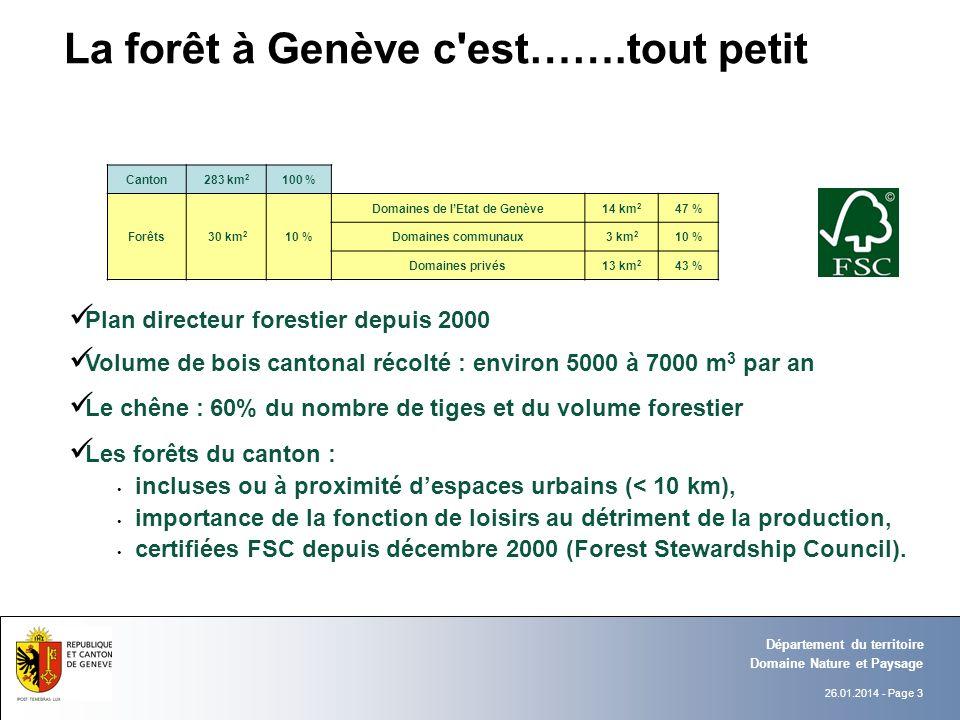 26.01.2014 - Page 3 Domaine Nature et Paysage Département du territoire Plan directeur forestier depuis 2000 Volume de bois cantonal récolté : environ