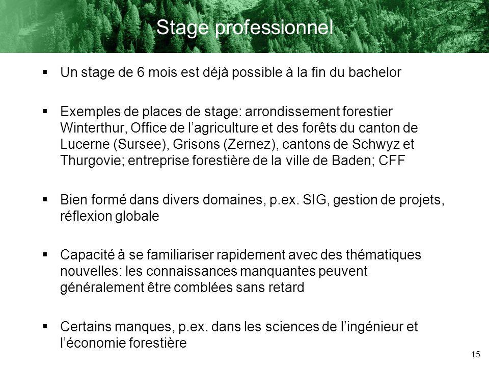 15 Stage professionnel Un stage de 6 mois est déjà possible à la fin du bachelor Exemples de places de stage: arrondissement forestier Winterthur, Off