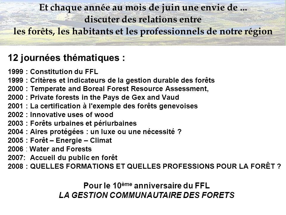 12 journées thématiques : 1999 : Constitution du FFL 1999 : Critères et indicateurs de la gestion durable des forêts 2000 : Temperate and Boreal Fores