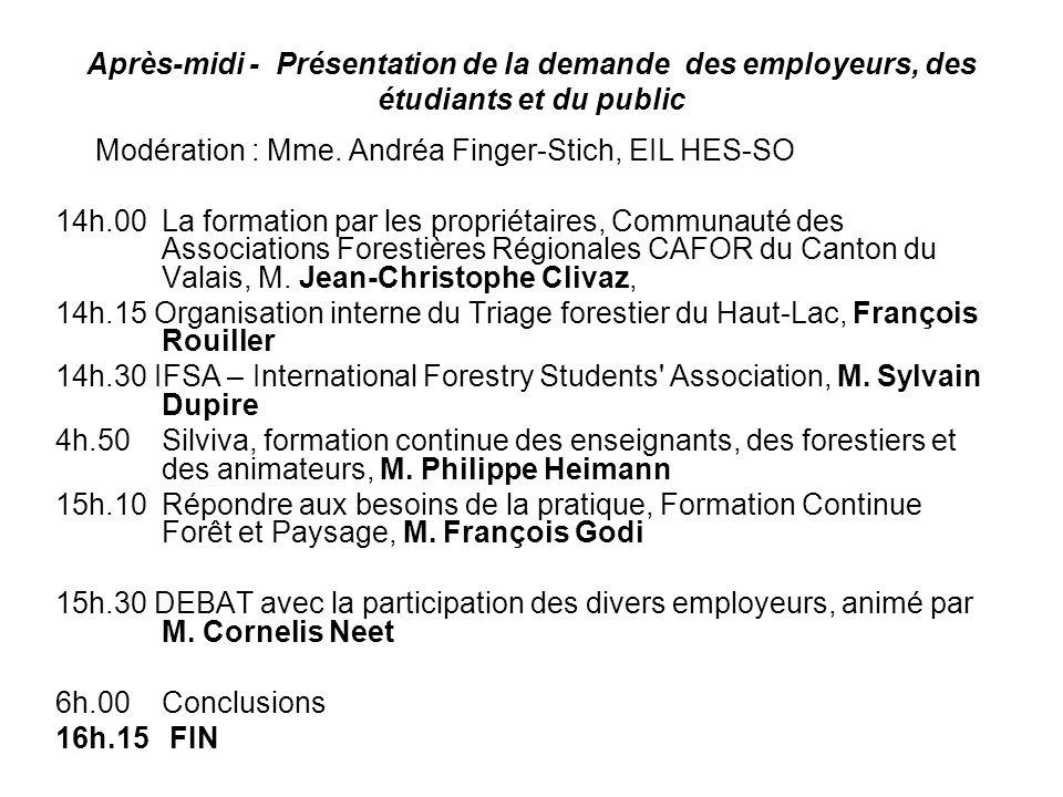Après-midi - Présentation de la demande des employeurs, des étudiants et du public Modération : Mme. Andréa Finger-Stich, EIL HES-SO 14h.00 La formati