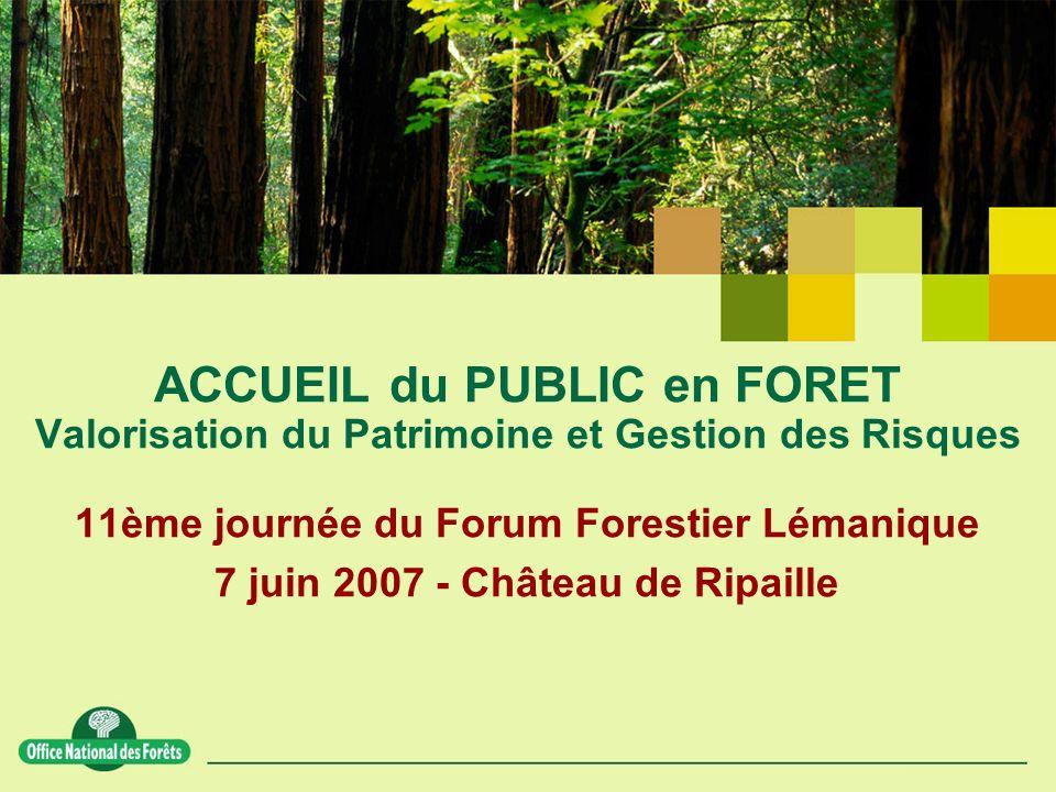 11ème journée du Forum Forestier Lémanique 7 juin 2007 - Château de Ripaille ACCUEIL du PUBLIC en FORET Valorisation du Patrimoine et Gestion des Risques