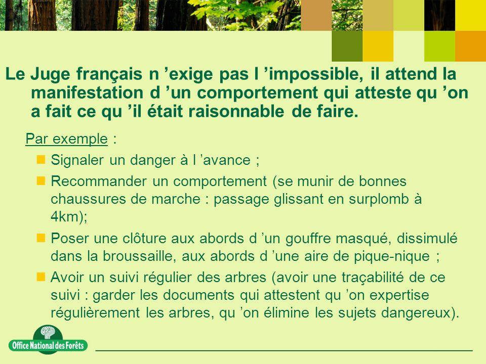 Le Juge français n exige pas l impossible, il attend la manifestation d un comportement qui atteste qu on a fait ce qu il était raisonnable de faire.