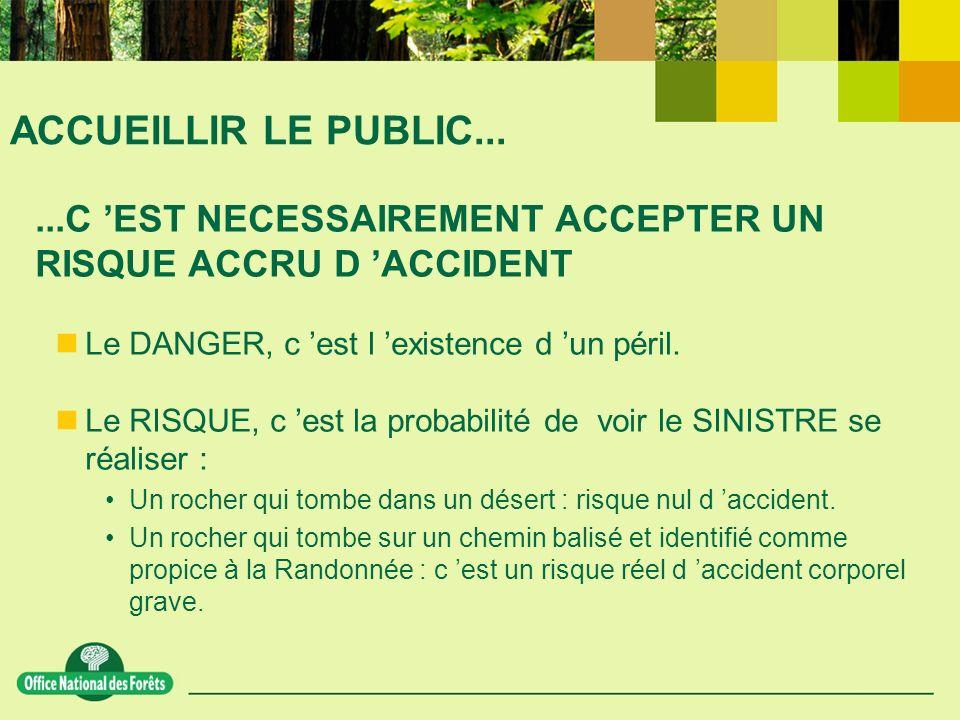 ACCUEILLIR LE PUBLIC......C EST NECESSAIREMENT ACCEPTER UN RISQUE ACCRU D ACCIDENT Le DANGER, c est l existence d un péril.