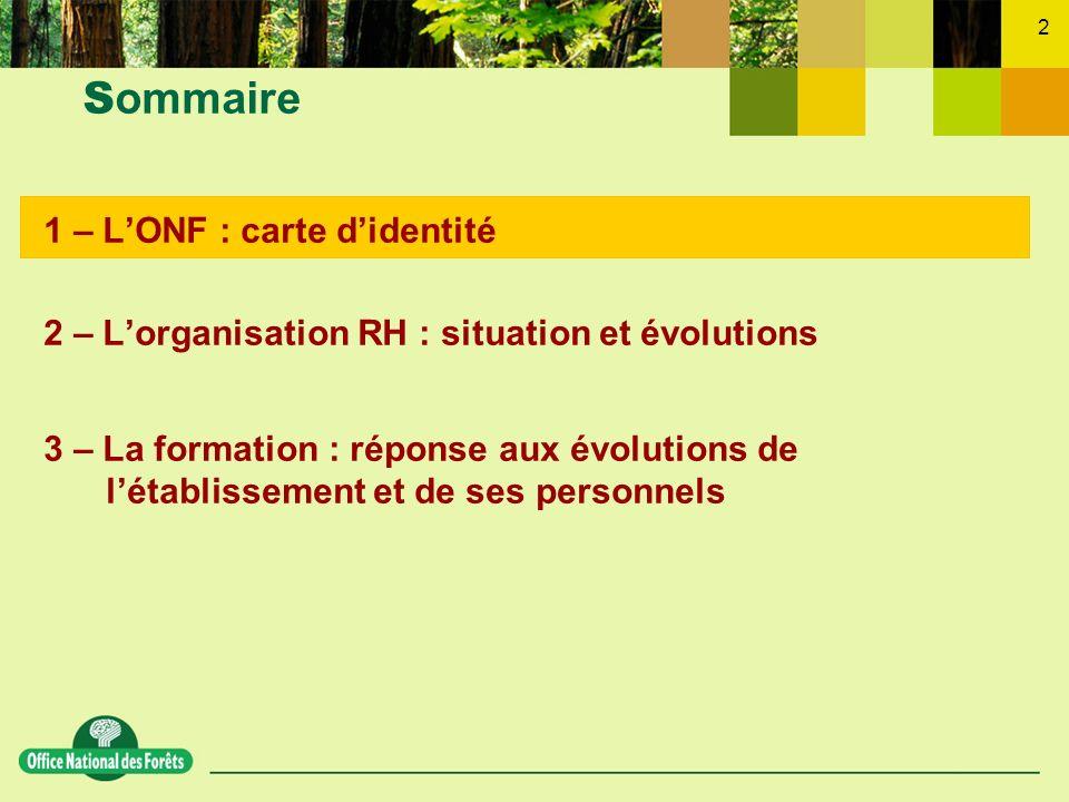 2 1 – LONF : carte didentité 2 – Lorganisation RH : situation et évolutions 3 – La formation : réponse aux évolutions de létablissement et de ses pers