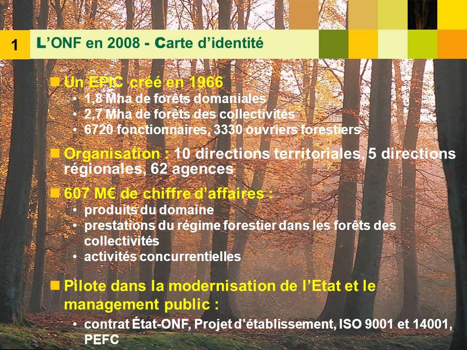 3 Un EPIC créé en 1966 1,8 Mha de forêts domaniales 2,7 Mha de forêts des collectivités 6720 fonctionnaires, 3330 ouvriers forestiers Organisation : 1