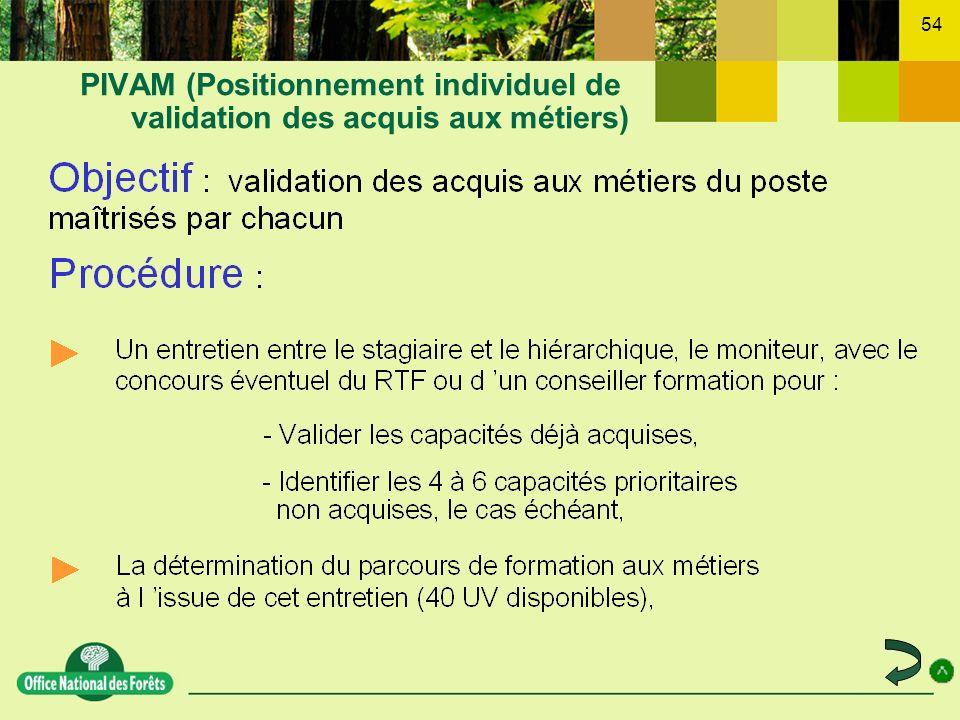 54 PIVAM (Positionnement individuel de validation des acquis aux métiers)