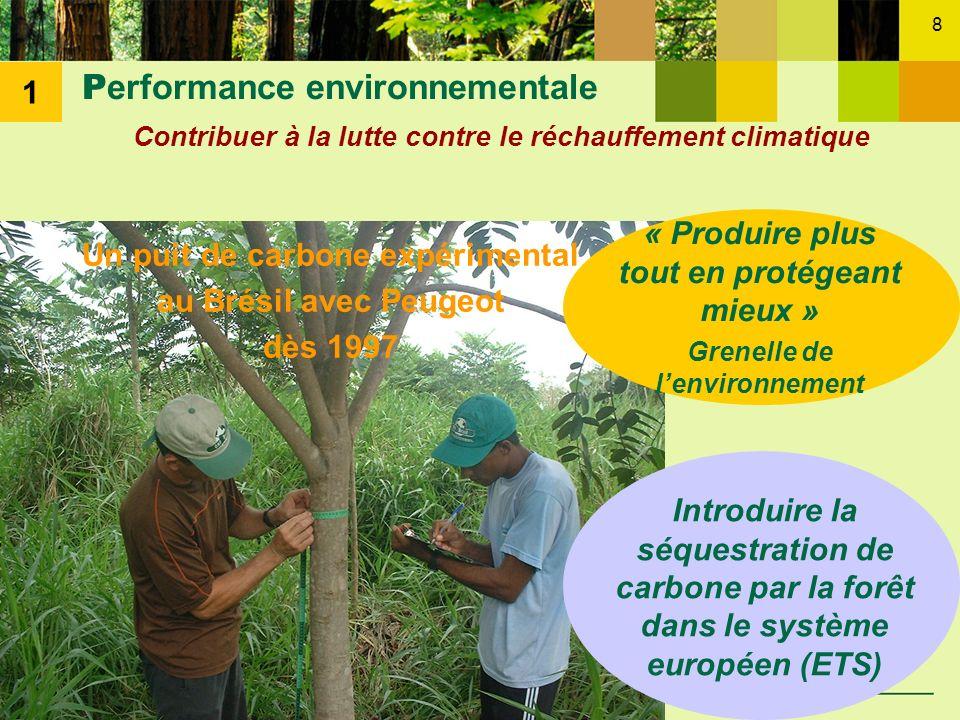 8 P erformance environnementale Contribuer à la lutte contre le réchauffement climatique Un puit de carbone expérimental au Brésil avec Peugeot dès 19