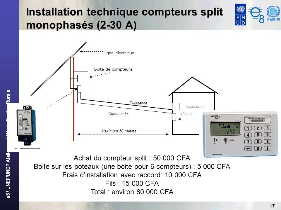 e8 / UNEP/UNDP Atelier sur L'électrification Rurale 17 Installation technique compteurs split monophasés (2-30 A) Commande Puissance Clavier Disjoncte