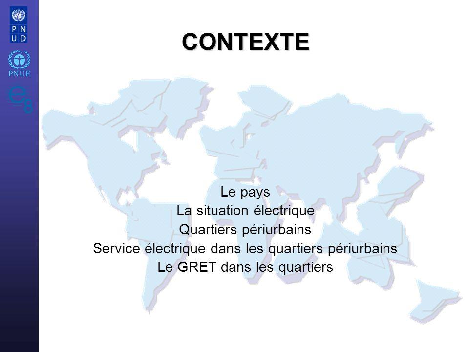 e8 / UNEP/UNDP Atelier sur L électrification Rurale 3 La Mauritanie Mauritanie - 3 000 000 habitants -1 026 000 km2 - 85% désertique -PNB/hab : 530 $ -Pauvreté : 46% -Ressources : minerai, pétrole, pêche -Capitale : Nouakchott, 400 000 habitants