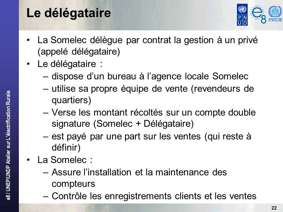 e8 / UNEP/UNDP Atelier sur L'électrification Rurale 22 Le délégataire La Somelec délègue par contrat la gestion à un privé (appelé délégataire) Le dél