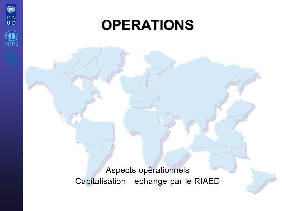 OPERATIONS Aspects opérationnels Capitalisation - échange par le RIAED