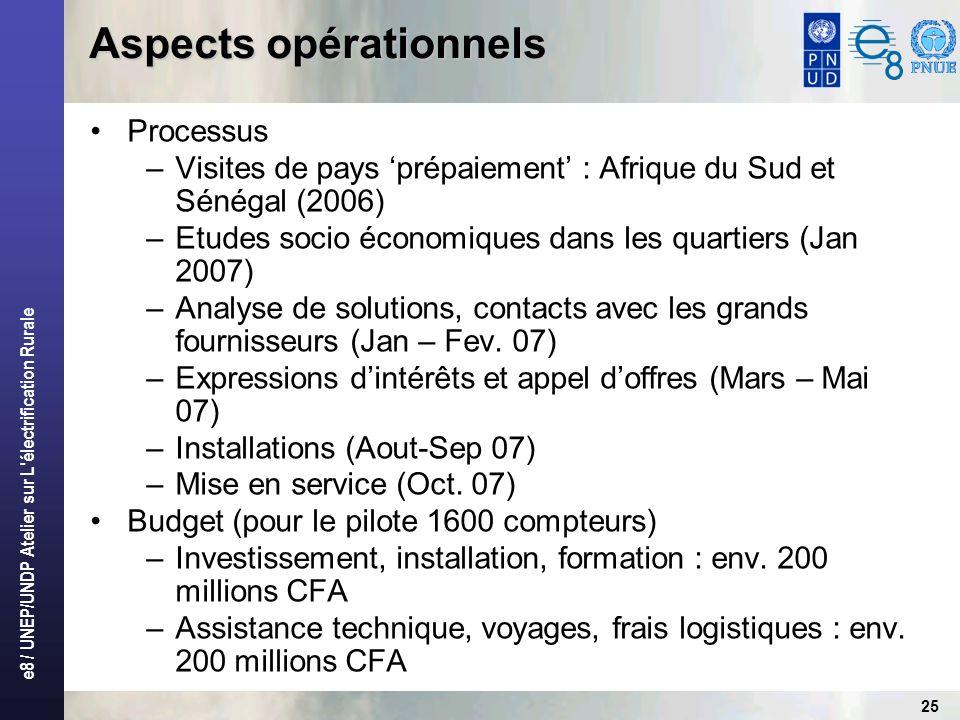 e8 / UNEP/UNDP Atelier sur L'électrification Rurale 25 Aspects opérationnels Processus –Visites de pays prépaiement : Afrique du Sud et Sénégal (2006)