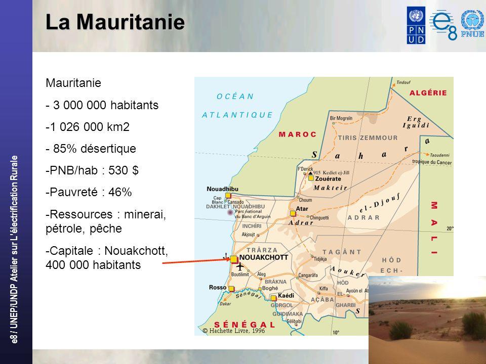 e8 / UNEP/UNDP Atelier sur L'électrification Rurale 3 La Mauritanie Mauritanie - 3 000 000 habitants -1 026 000 km2 - 85% désertique -PNB/hab : 530 $