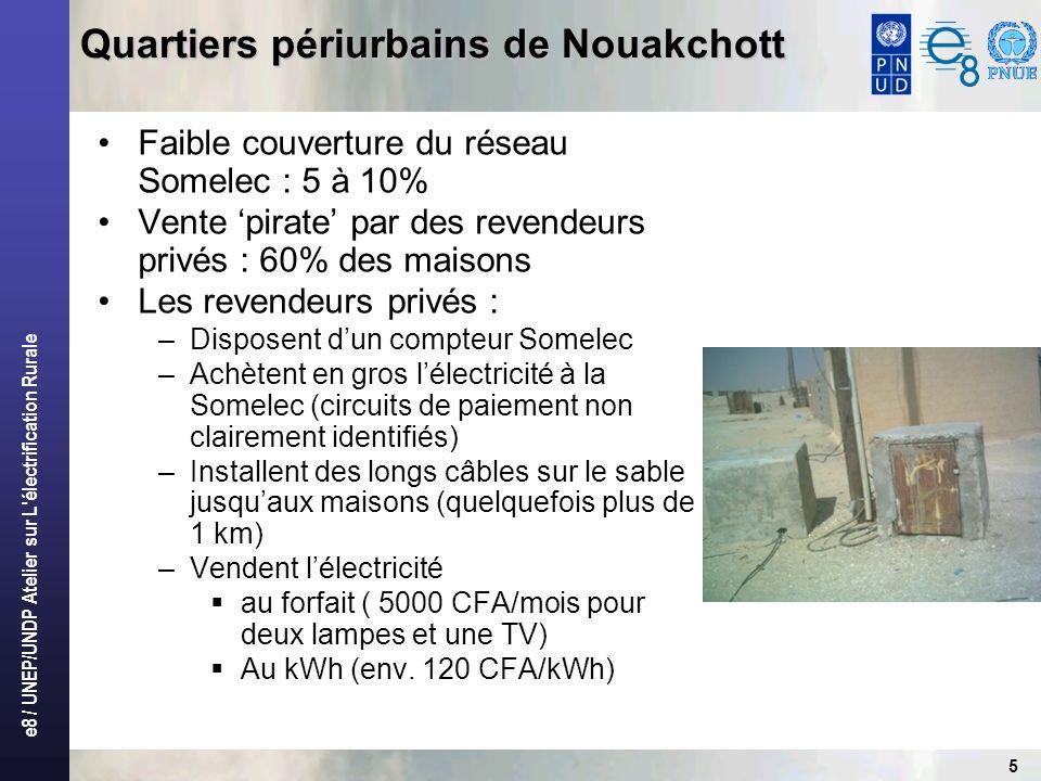 e8 / UNEP/UNDP Atelier sur L'électrification Rurale 5 Quartiers périurbains de Nouakchott Faible couverture du réseau Somelec : 5 à 10% Vente pirate p