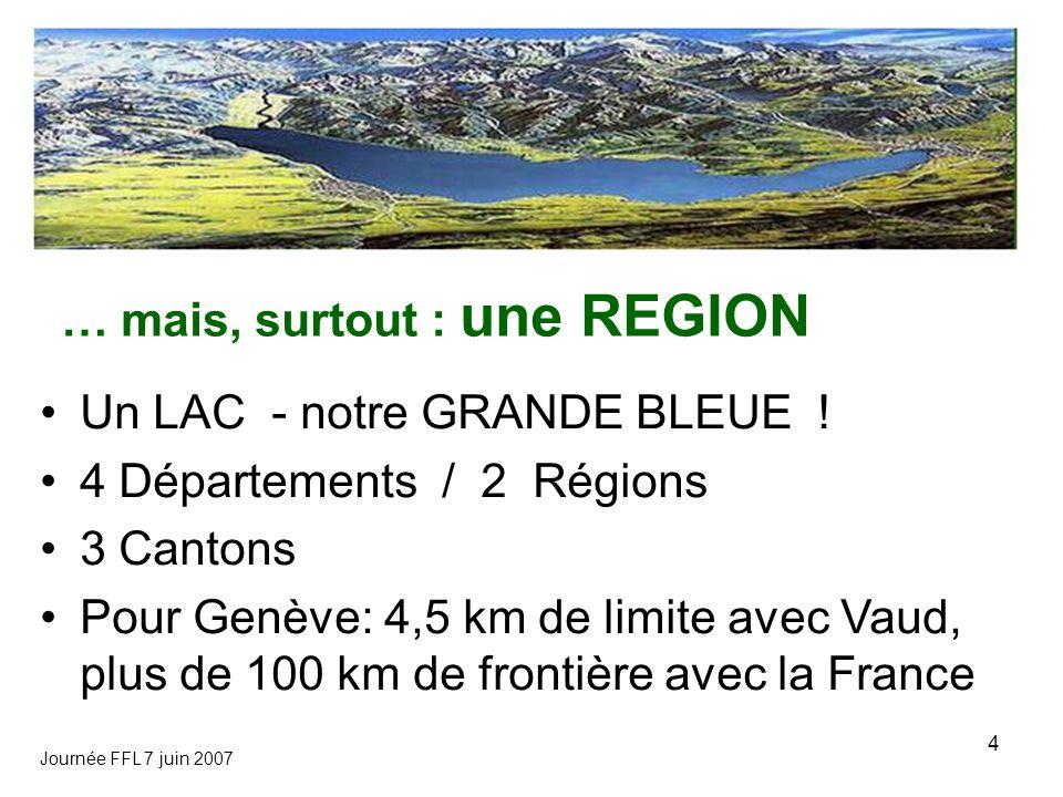 Journée FFL 7 juin 2007 4 … mais, surtout : une REGION Un LAC - notre GRANDE BLEUE ! 4 Départements / 2 Régions 3 Cantons Pour Genève: 4,5 km de limit