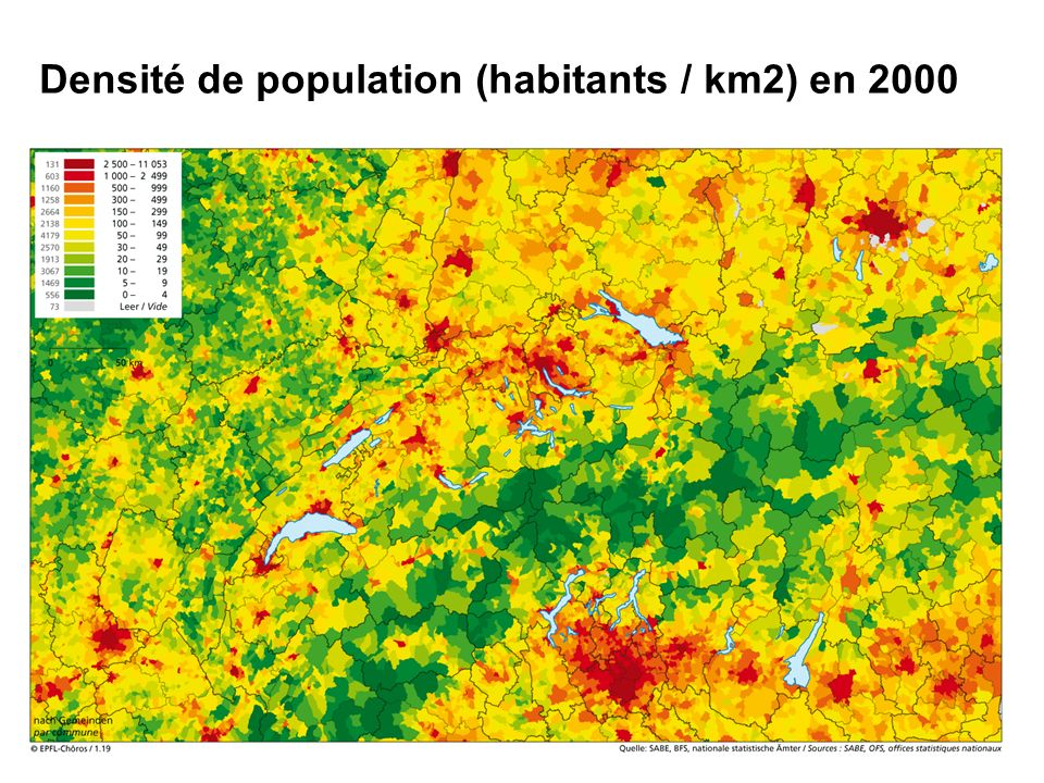 Journée FFL 7 juin 2007 6 Densité de population (habitants / km2) en 2000
