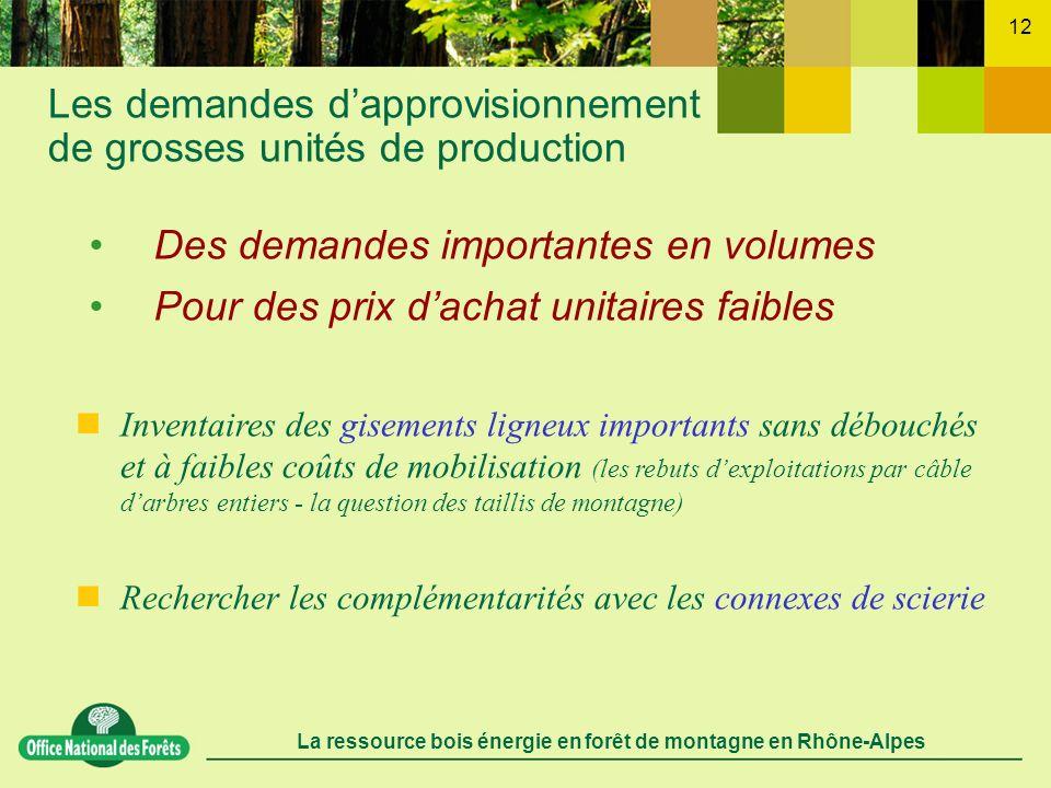 La ressource bois énergie en forêt de montagne en Rhône-Alpes 12 Les demandes dapprovisionnement de grosses unités de production Inventaires des gisem