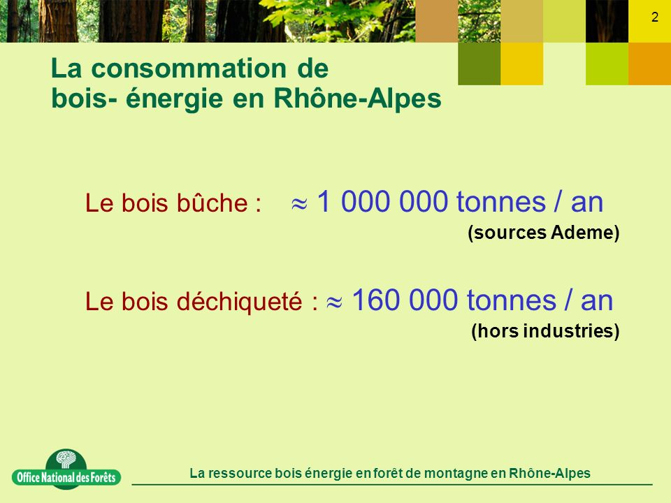 La ressource bois énergie en forêt de montagne en Rhône-Alpes 2 La consommation de bois- énergie en Rhône-Alpes Le bois bûche : 1 000 000 tonnes / an