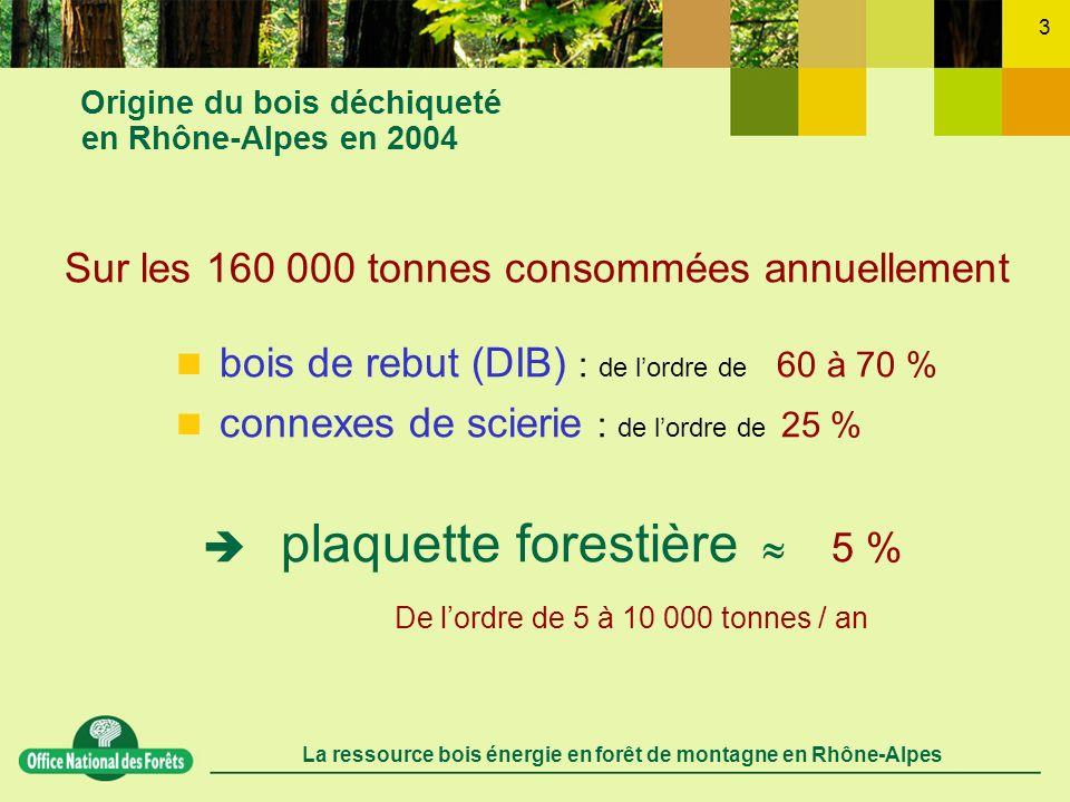 La ressource bois énergie en forêt de montagne en Rhône-Alpes 14 Les synergies sciage bois énergie Les sciage résineux de 2ème choix dans les Alpes du Nord = une contribution durable dans lapprovisionnement en bois énergie dans des conditions économiques très favorables une ressource bois énergie de lordre de 100 000 t / an 2 tonnes de bois dœuvre 1 tonne de sciage 1 tonne de connexes