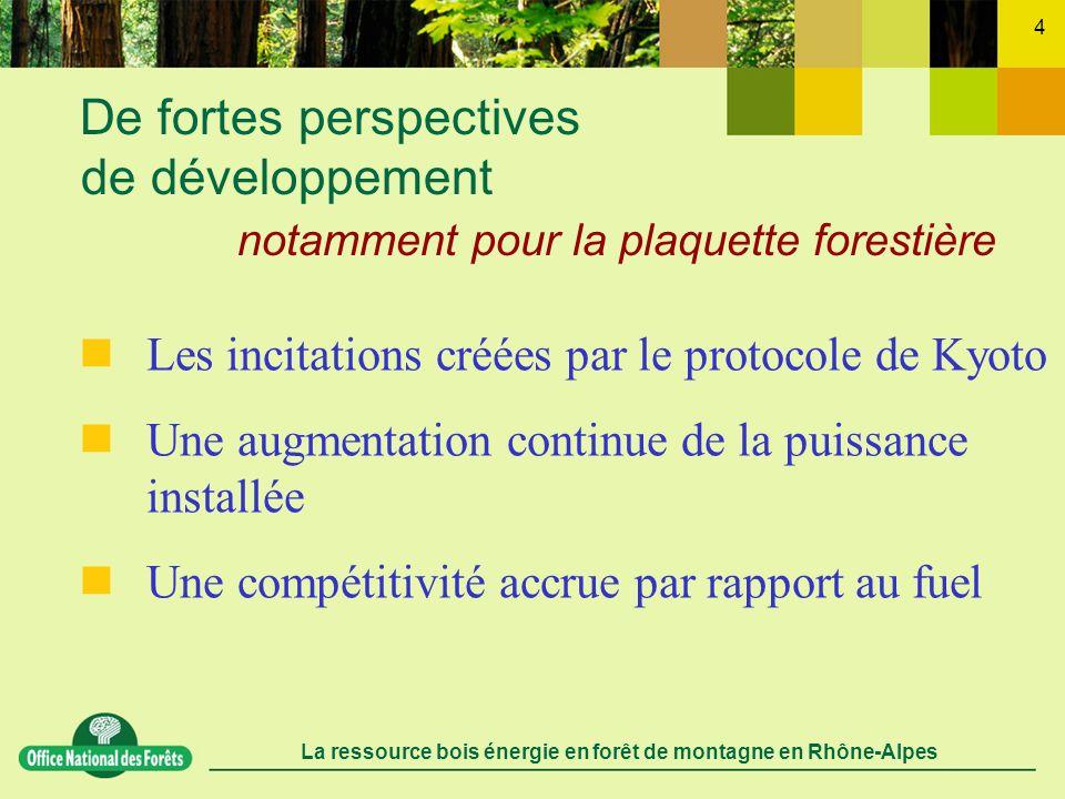 La ressource bois énergie en forêt de montagne en Rhône-Alpes 4 De fortes perspectives de développement notamment pour la plaquette forestière Les inc