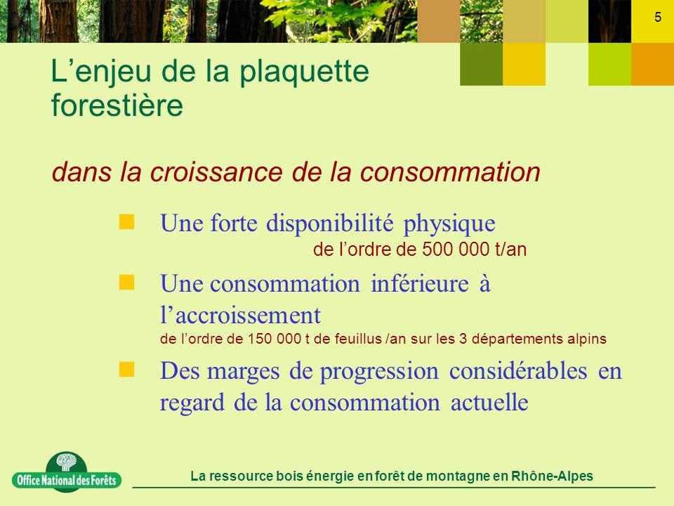 La ressource bois énergie en forêt de montagne en Rhône-Alpes 5 Lenjeu de la plaquette forestière dans la croissance de la consommation Une forte disp