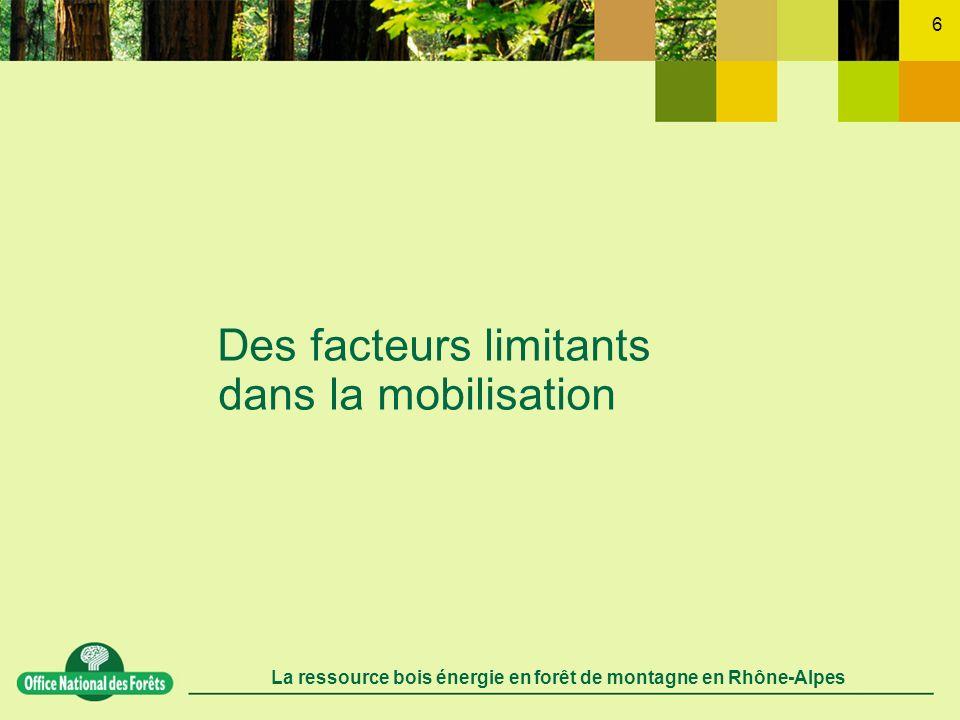 La ressource bois énergie en forêt de montagne en Rhône-Alpes 7 Un développement récent des filières dapprovisionnement encore peu organisées organiser le maillon de la distribution des techniques et des processus de mobilisation encore peu éprouvés