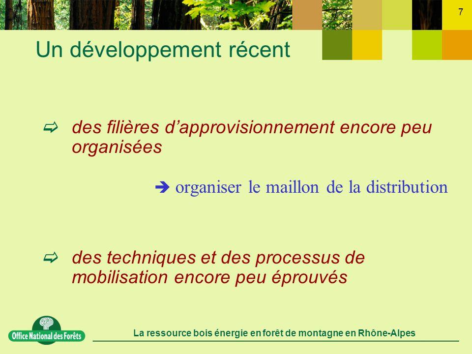La ressource bois énergie en forêt de montagne en Rhône-Alpes 8 Des coûts de mobilisation importants sur la plus grande partie du gisement Lidentification des configurations de chantiers rentables Lamélioration des capacités de mécanisation Des conditions incitatives à lencontre du propriétaire