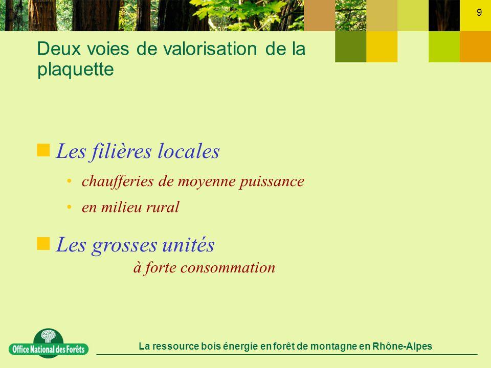 La ressource bois énergie en forêt de montagne en Rhône-Alpes 10 Lorganisation des filières locales un approvisionnement basé sur les ressources locales dont une part importante de ligneux autrefois laissés dans le milieu naturel aménagements de capacités de stockage (hangar, plate-forme) limitation des pertes de charges, logistique simplifiée les forêts locales, les agriculteurs Approvisionnement par