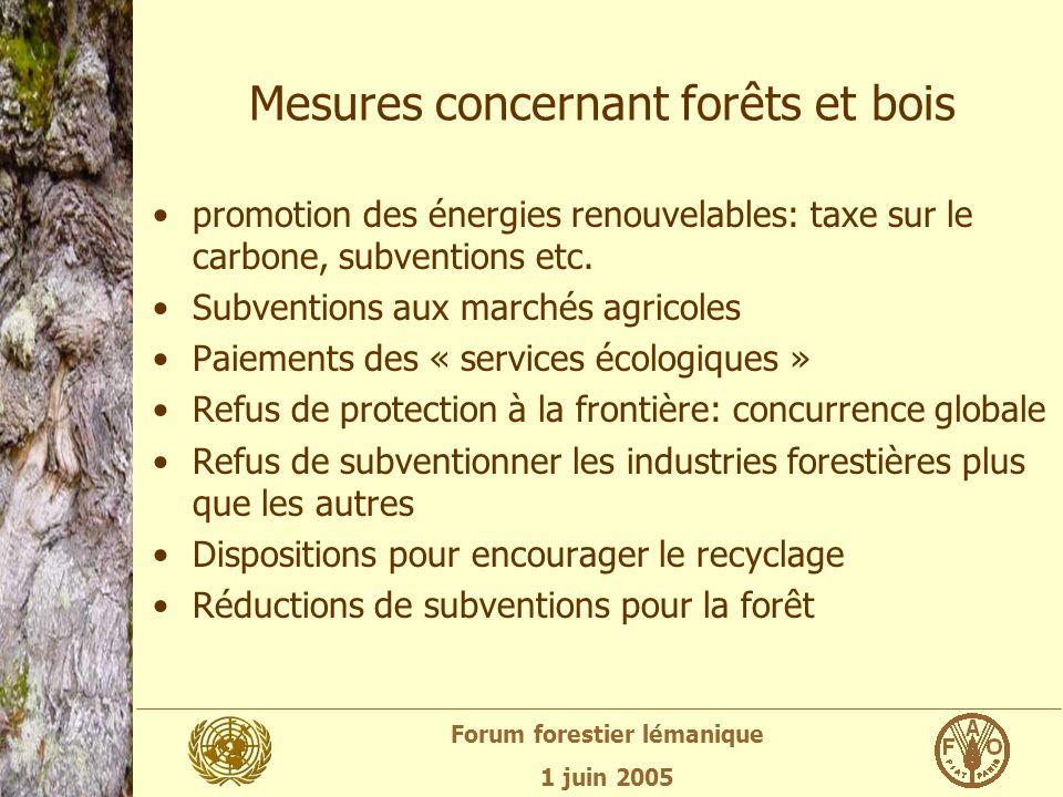 Forum forestier lémanique 1 juin 2005 Mesures concernant forêts et bois promotion des énergies renouvelables: taxe sur le carbone, subventions etc.