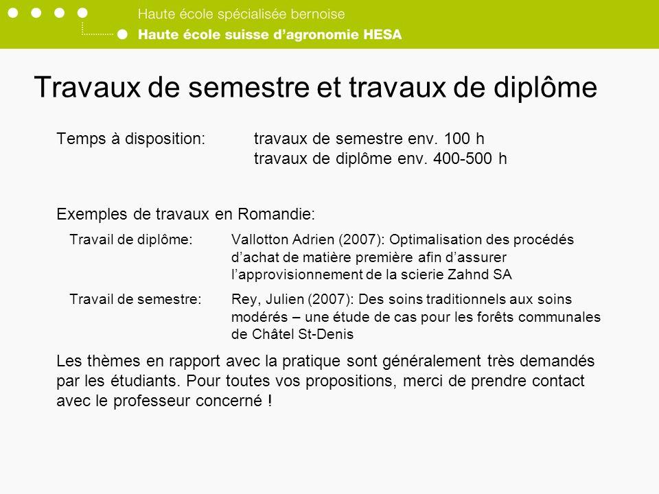 Travaux de semestre et travaux de diplôme Temps à disposition:travaux de semestre env.