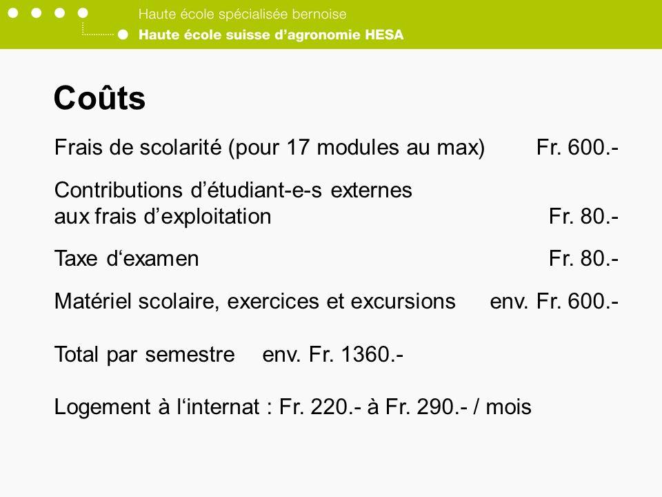 Coûts Frais de scolarité (pour 17 modules au max)Fr.
