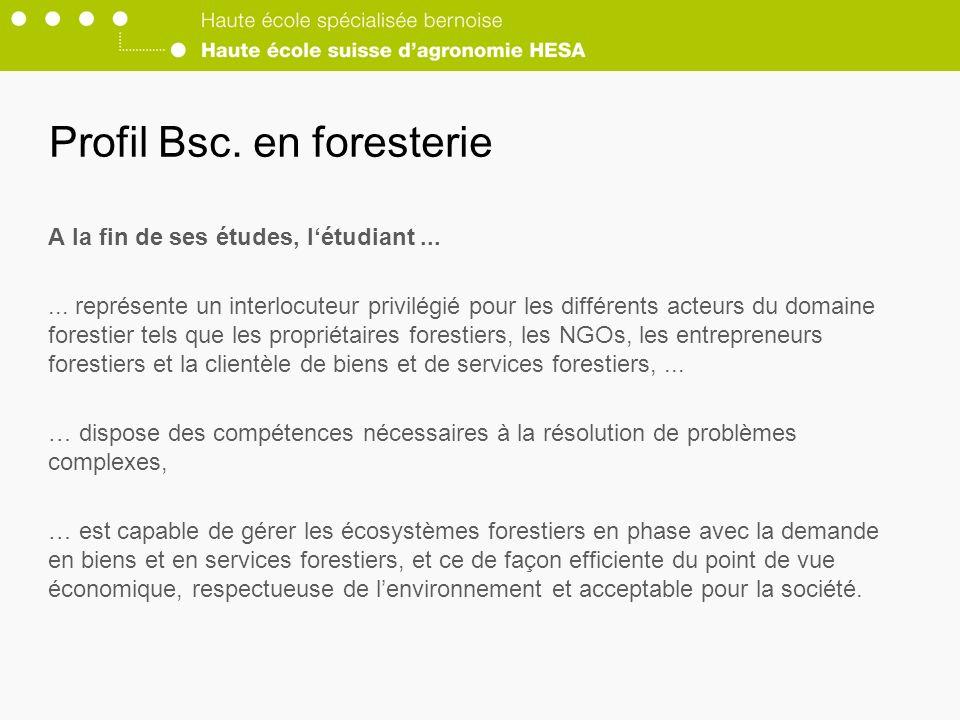 Profil Bsc.en foresterie A la fin de ses études, létudiant......