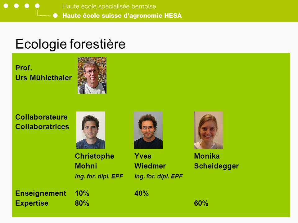 Ecologie forestière Prof. Urs Mühlethaler Collaborateurs Collaboratrices ChristopheYvesMonika MohniWiedmerScheideggering. for. dipl. EPF Enseignement1
